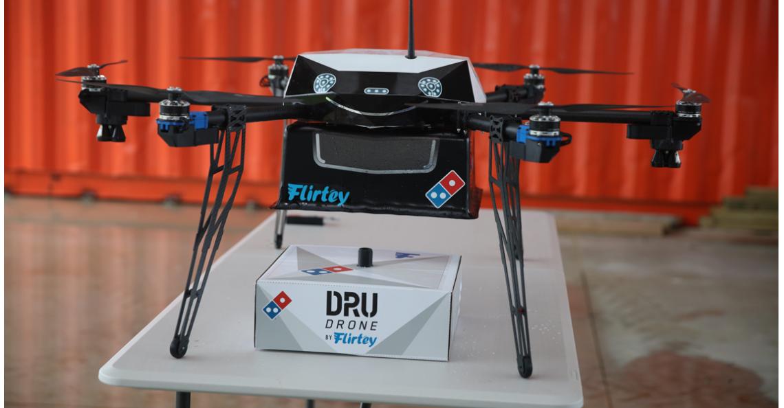Domino en Flirty beginnen eerste pizza dronebezorgservice
