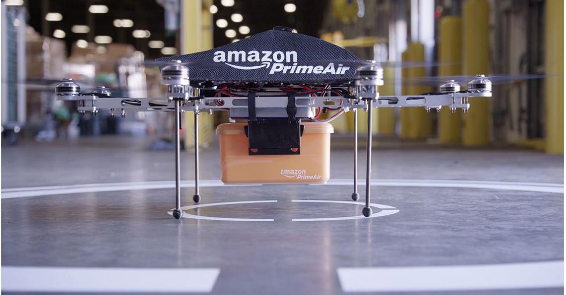 Amazon bezorgt eerste pakket op afstand van 700 meter