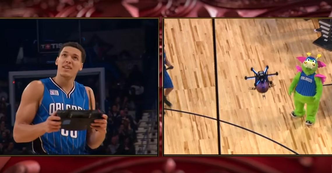 NBA-speler Aaron Gordon gebruikt drone bij dunk-competitie