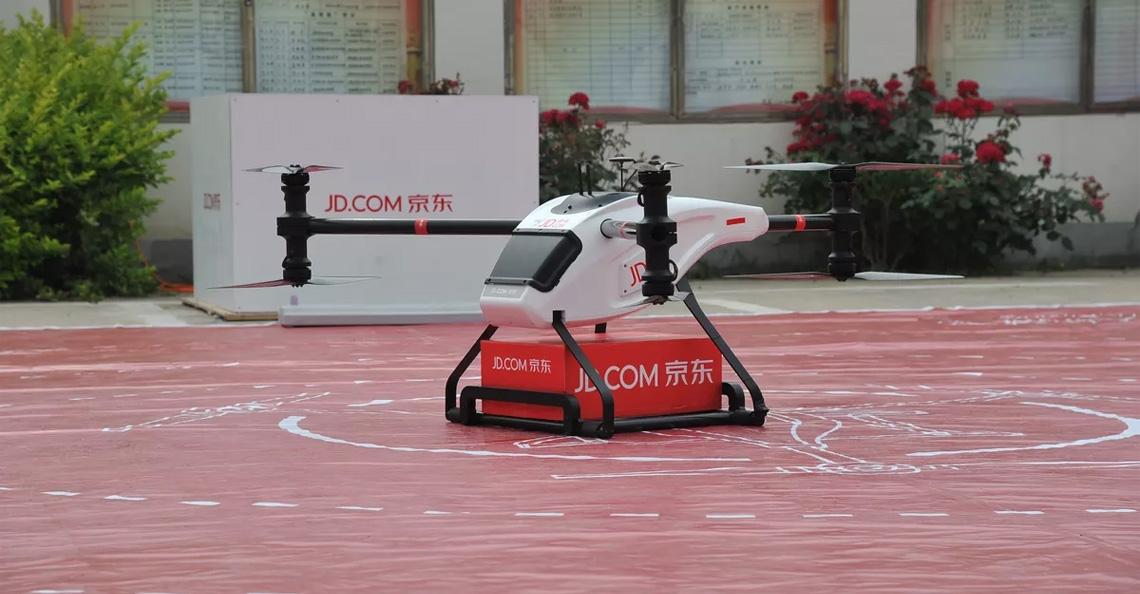 Chinese webwinkel ontwikkelt drones voor levering goederen van een ton