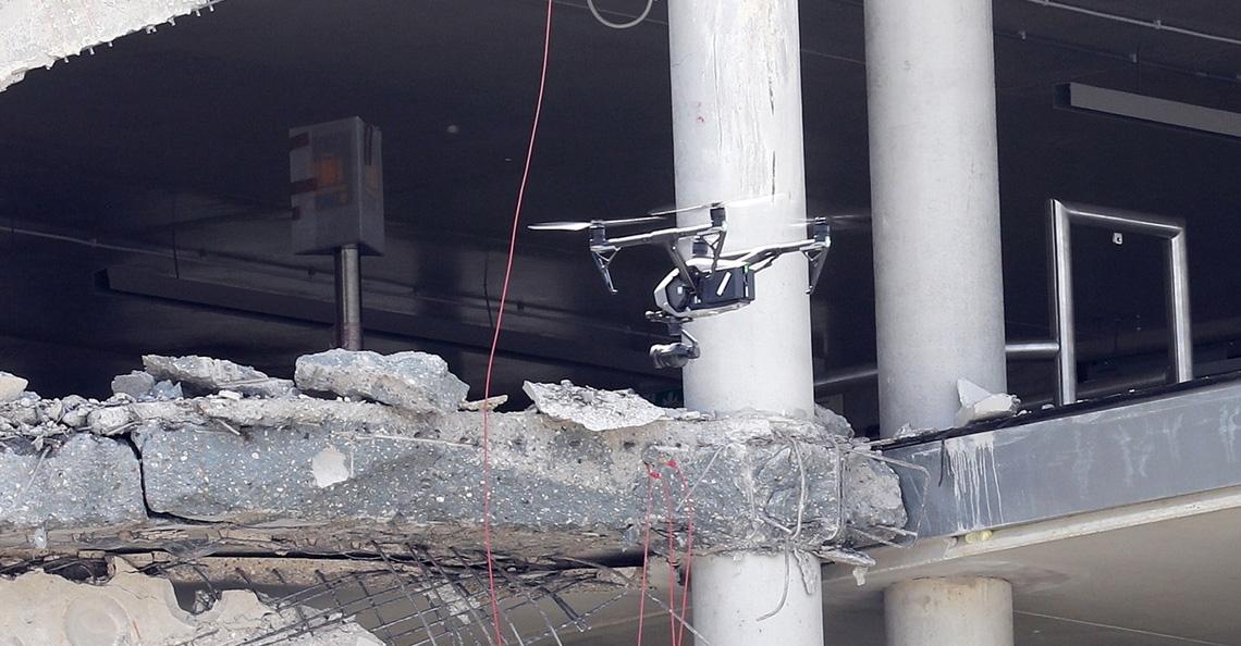 Drones ingezet bij inspectie ingestorte parkeergarage Eindhoven Airport