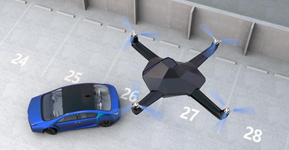 Amazon patenteert een drone die elektrische auto's oplaadt