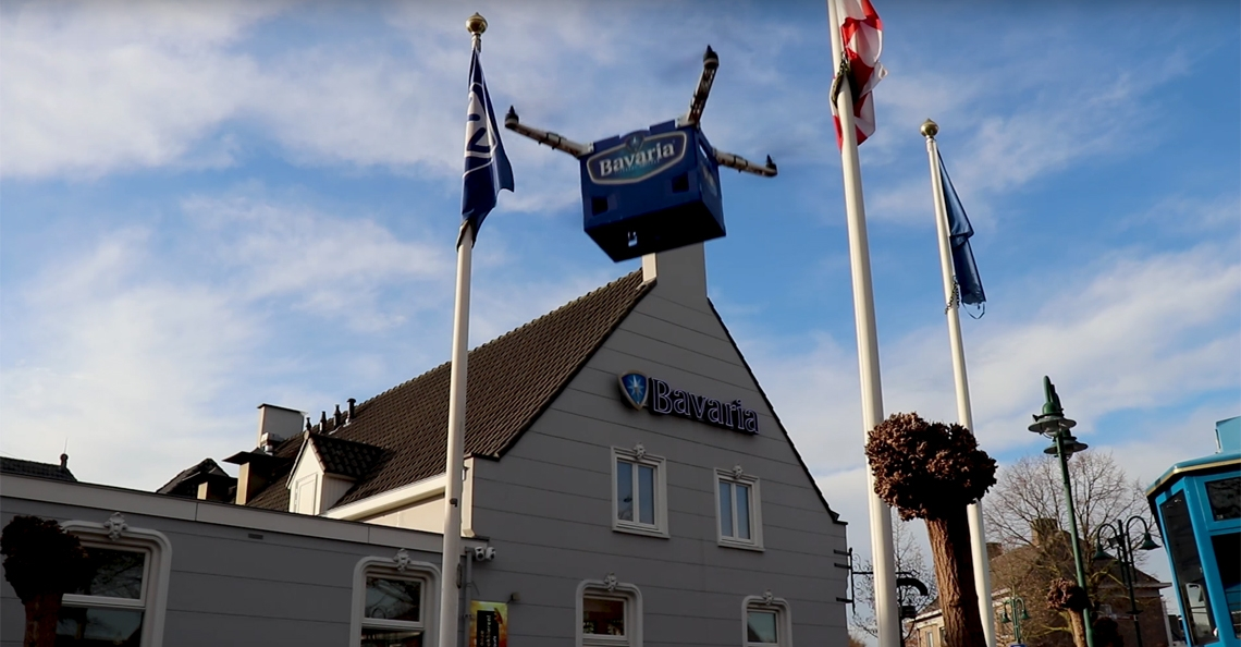 Bier bezorgen met Bavaria kratkopter