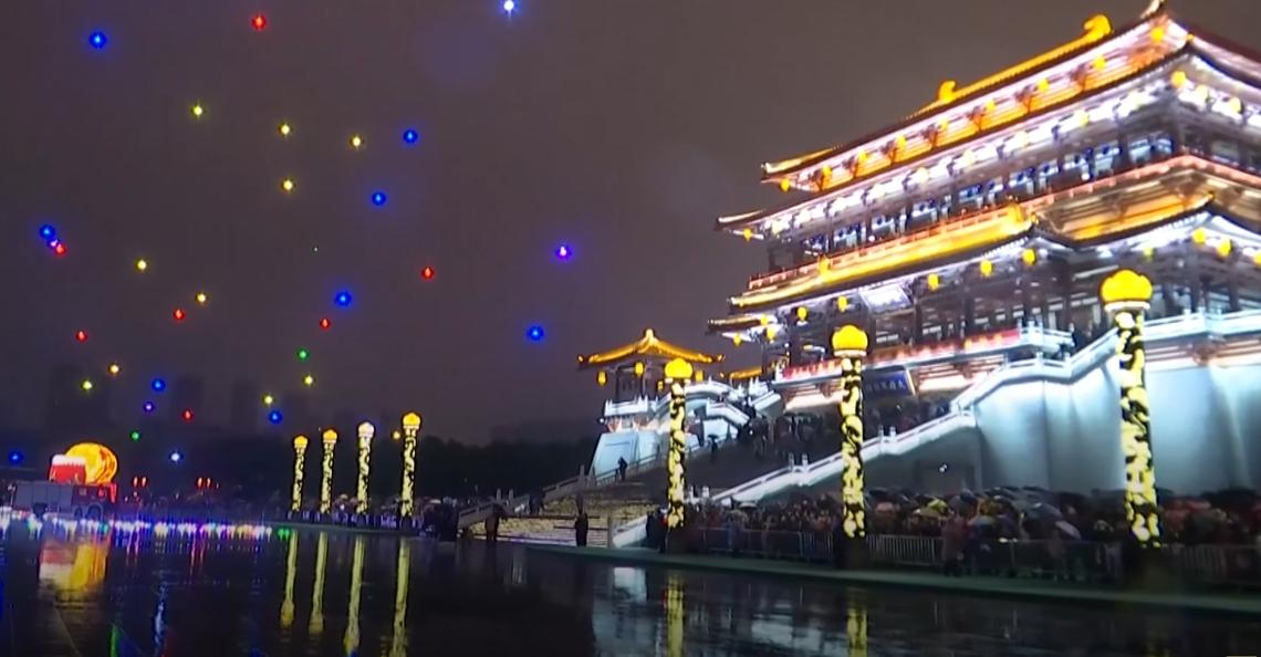 Lichtshow met 300 drones ter gelegenheid van Chinees nieuwjaar