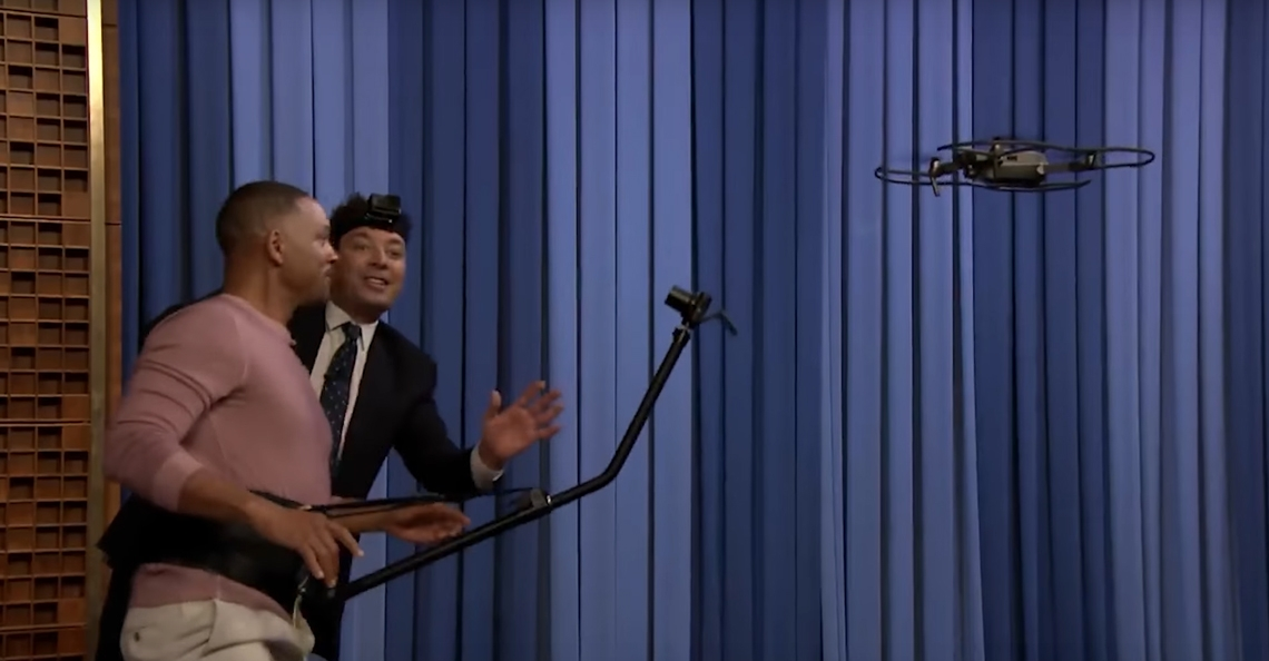 Will Smith vliegt met DJI Mavic Pro drone tijdens de Tonight Show