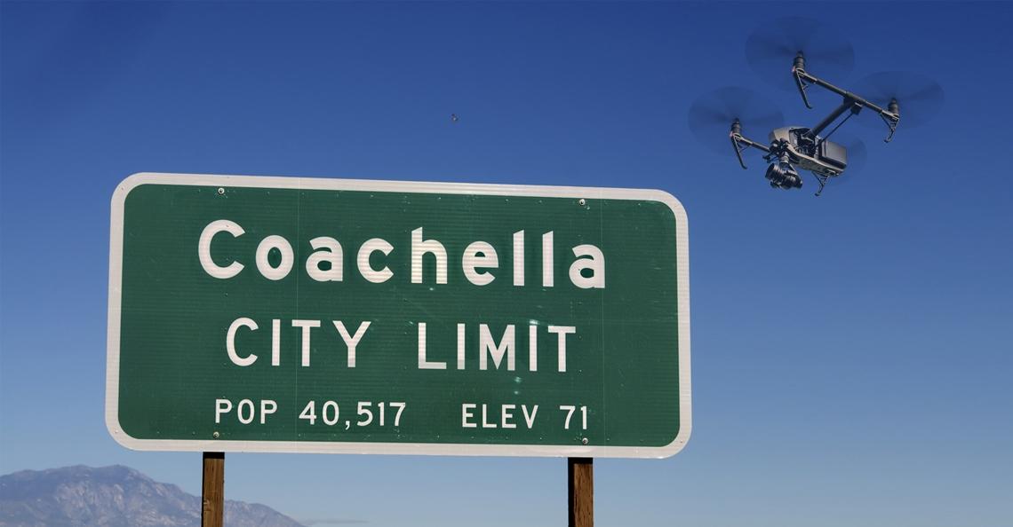 Drones beveiligen muziekfestival Coachella in Indio (Californië)