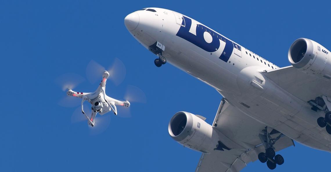 Zes bijna botsingen tussen vliegtuigen en drones in 2017