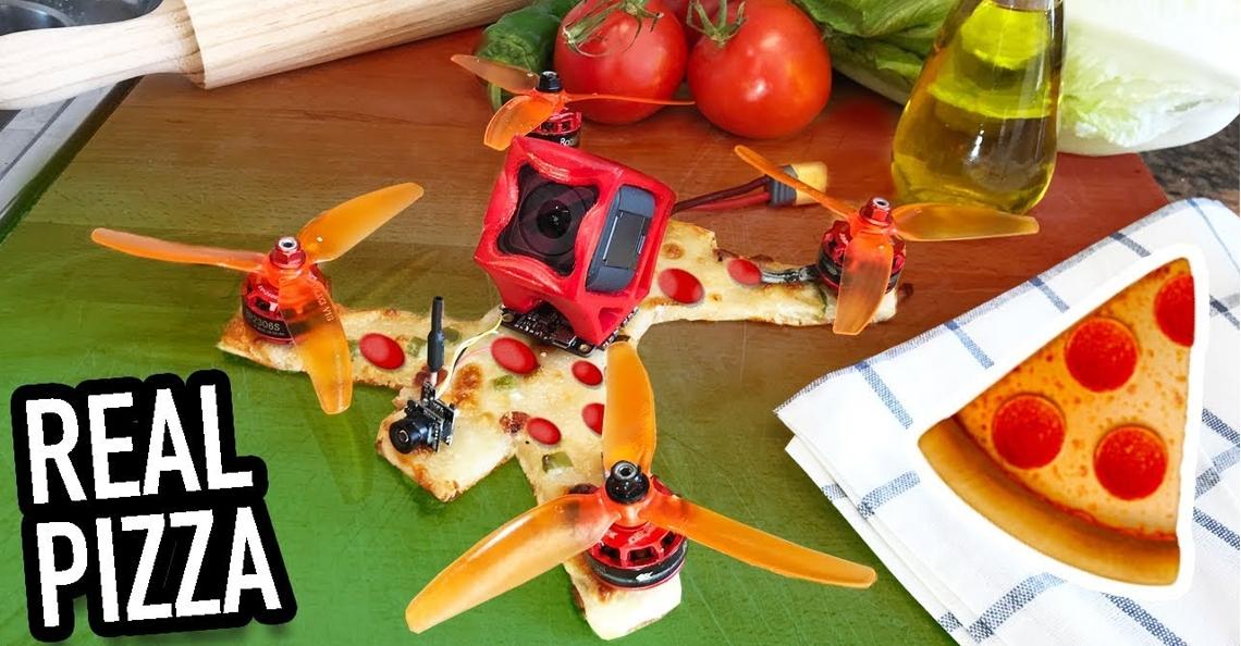 YouTuber maakt FPV racingdrone van pizza