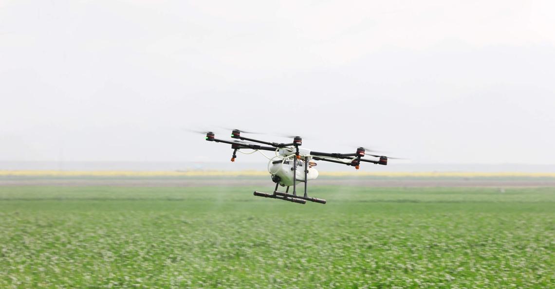 Eerste test met MG-1S landbouwdrone in Europa