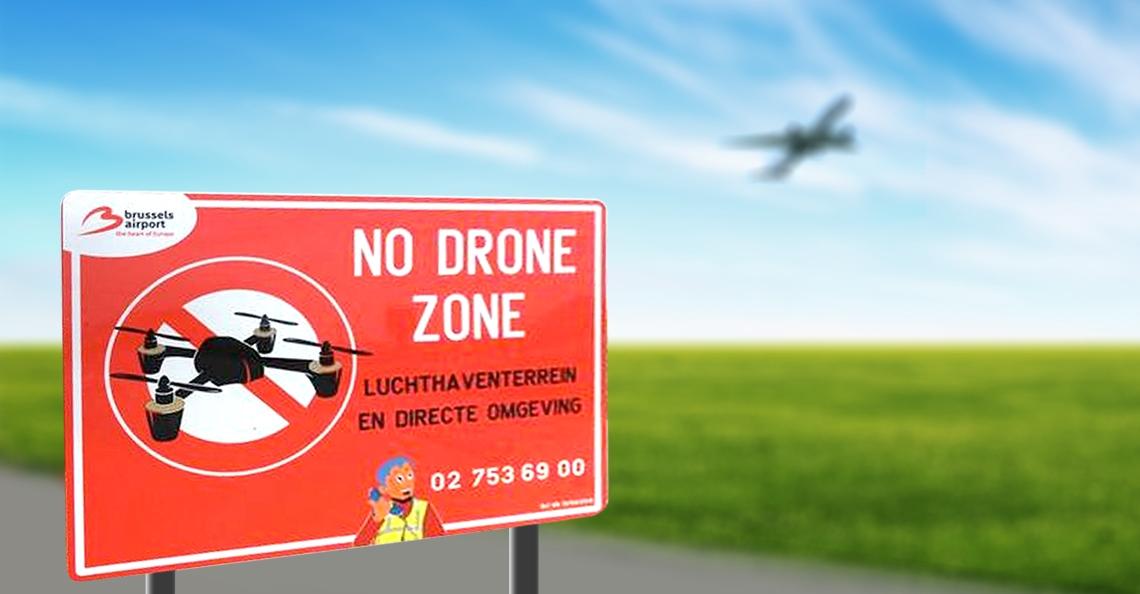 Twintig 'No Drone Zone' borden geplaatst rond Brussels Airport