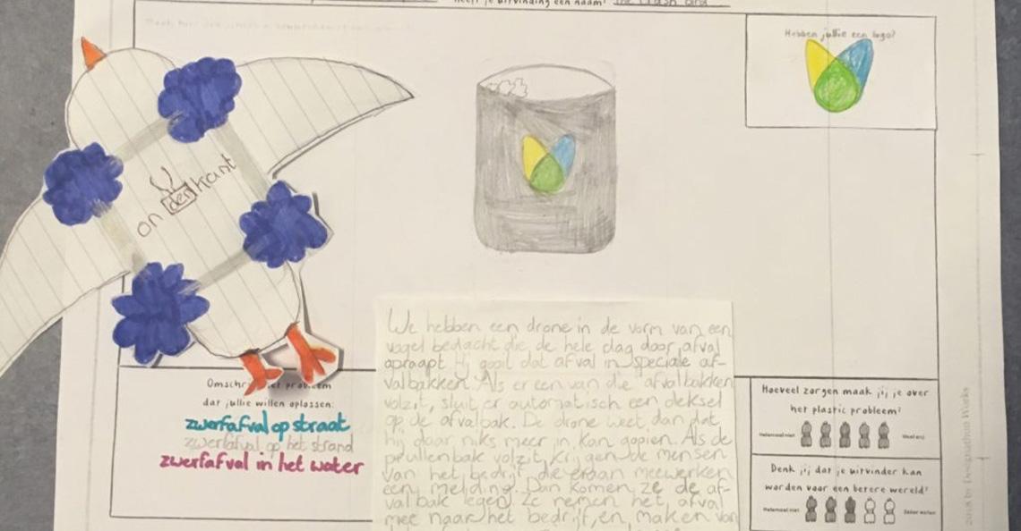 Kinderen bedenken Thrash Bird afvaldrone voor schonere wereld