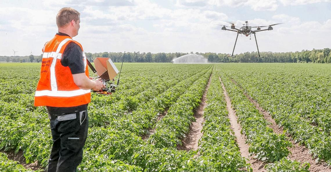Eerste drone testlocatie boven agrarisch gebied in Nederland