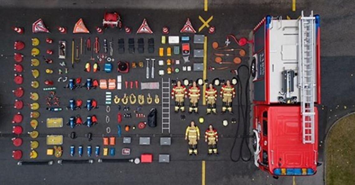 Tetris Challenge: Hulpdiensten delen dronefoto's van inhoud voertuig