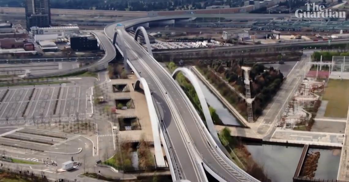 Drone-beelden tonen verlaten Italiaanse snelwegen door coronavirus
