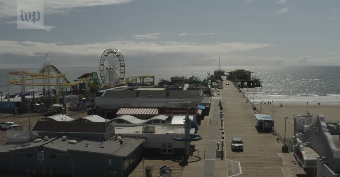 Uitgestorven straten Los Angeles in beeld gebracht met drone