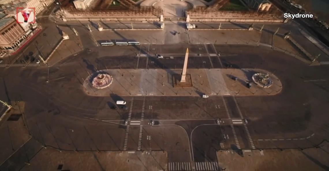 Coronamaatregelen Parijs in beeld gebracht met drone