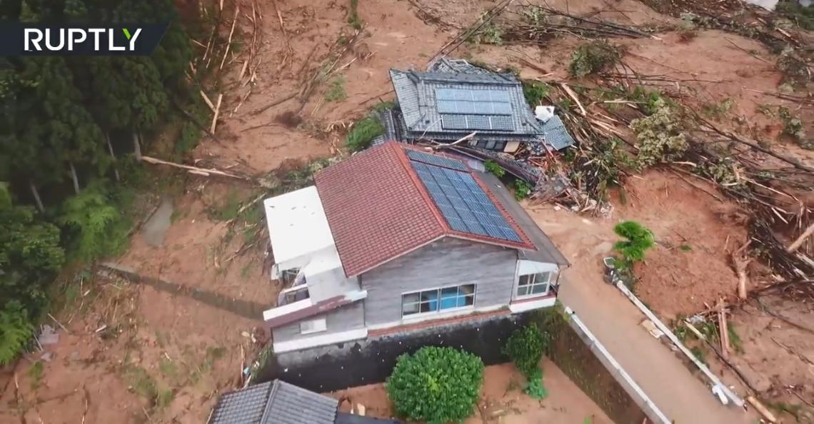 Dronebeelden tonen nasleep zware overstromingen in Japan