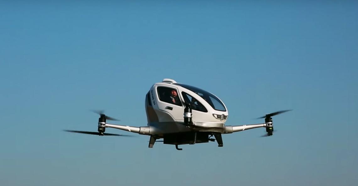 Ehang test passagiersvluchten met 'dronetaxi'