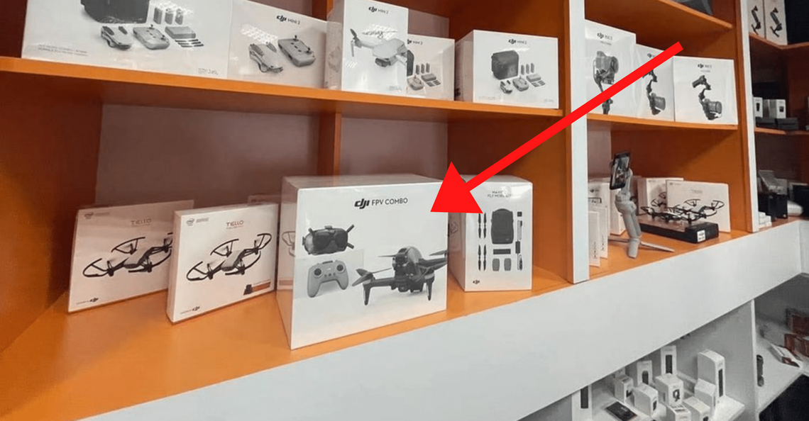 DJI FPV Drone gespot in winkelschap