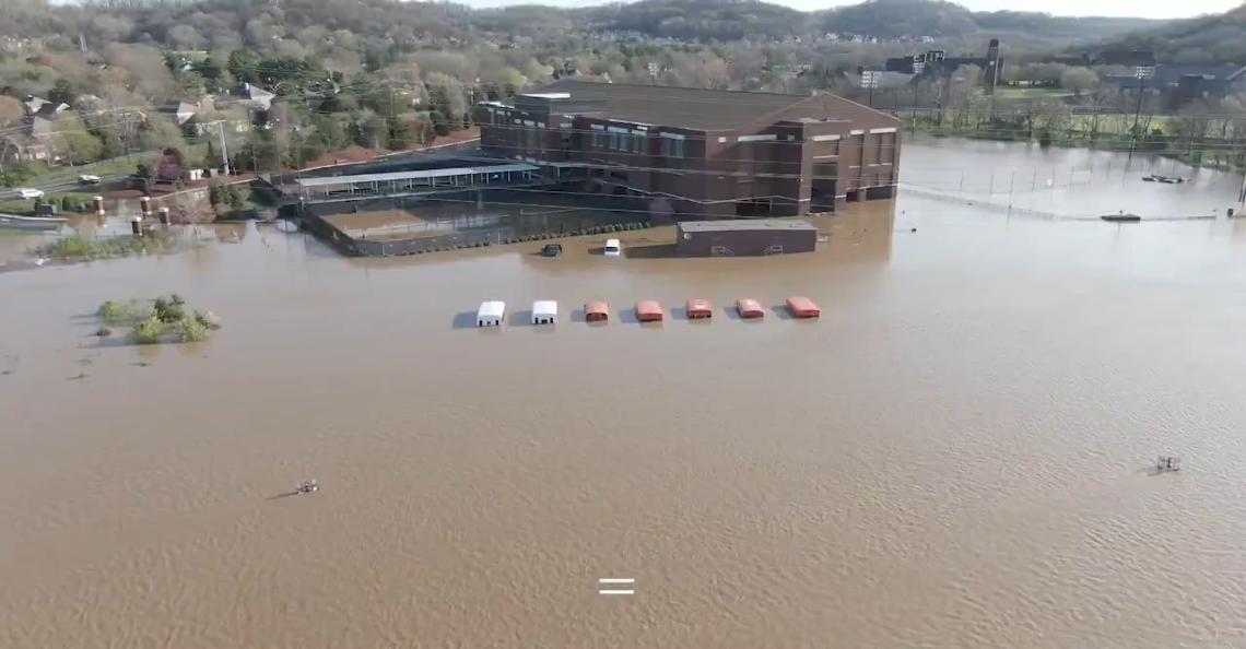 Drone brengt ernstige overstromingen Tennessee in beeld