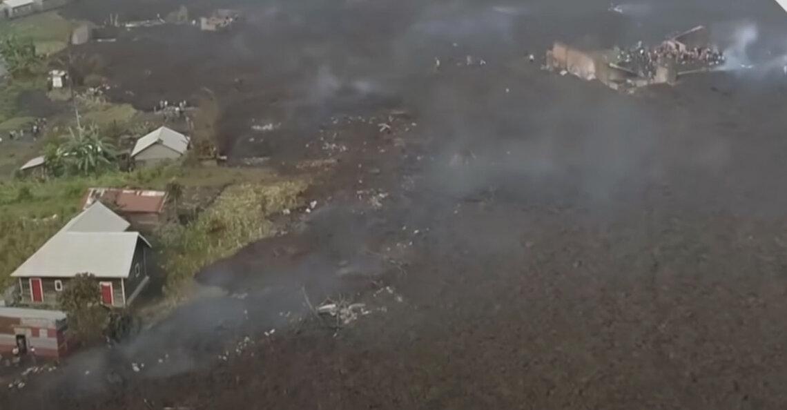 Drones onthullen ravage in Congo na vulkaanuitbarsting
