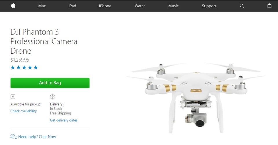 Apple nu ook reseller van populaire DJI Phantom 3 serie