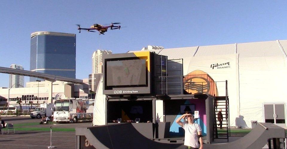 Demonstratie van Airdog, de drone voor action sports