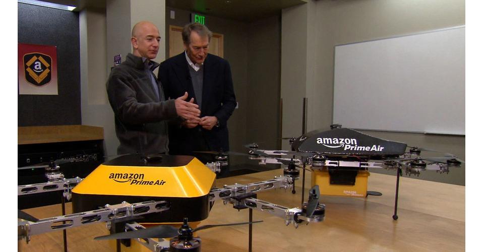 Amazon's CEO Jeff Bezos over Prime Air