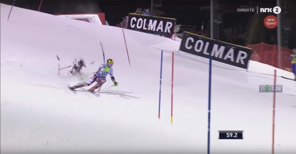 Neerstortende drone mist skiër op een haar na